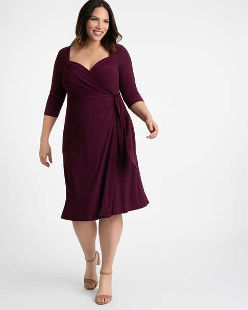 Kiyonna Women's Plus Size Sweetheart Knit Wrap Dress~Purple*11112202