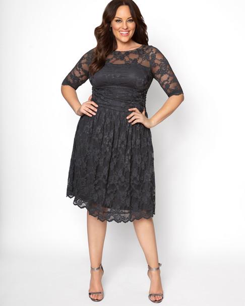 Kiyonna Women's Plus Size Luna Lace Dress~Silver Grey*12120901