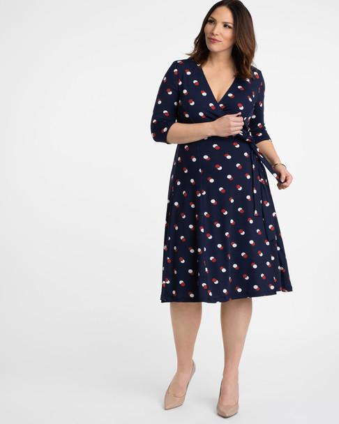 Kiyonna Women's Plus Size Essential Wrap Dress~Blue/Red/White*12131806