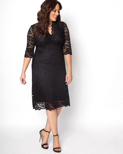 Kiyonna Women's Plus Size Scalloped Boudoir Lace Dress~Black*12060902