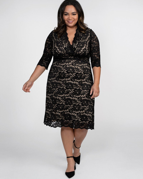Kiyonna Women's Plus Size Scalloped Boudoir Lace Dress~Black/Nude*12060902