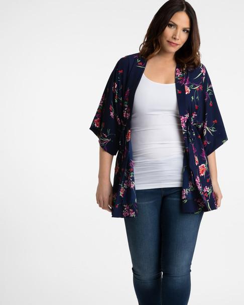 Kiyonna Women's Plus Size Bali Breeze Bellini Cardigan~Blue/Navy/Red*21192802