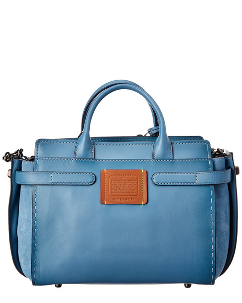 Coach Double Swagger Leather & Suede Tote~11602135700000