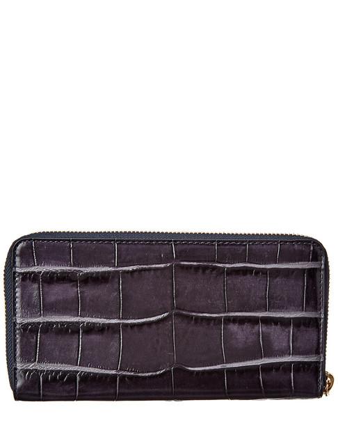 Coach Croc-Embossed Leather Zip Around Wallet~11622136020000