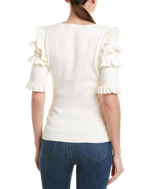 BCBGMAXAZRIA Ruffle Trim Sweater~1411463870