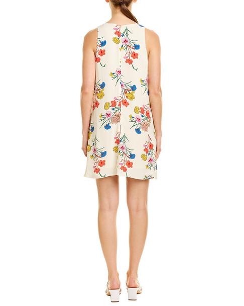 Lavender Brown Floral Shift Dress~1411992765