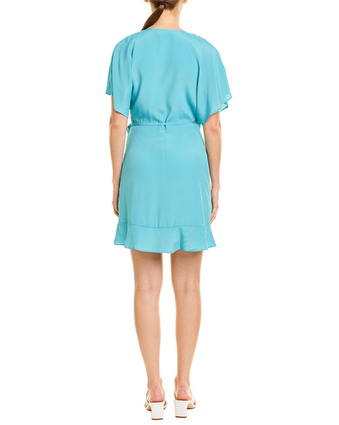 Lavender Brown Ruffle Silk-Blend Wrap Dress~1411992777