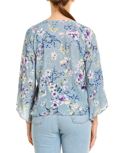 Lavender Brown Tie-Front Blouse~1411992788