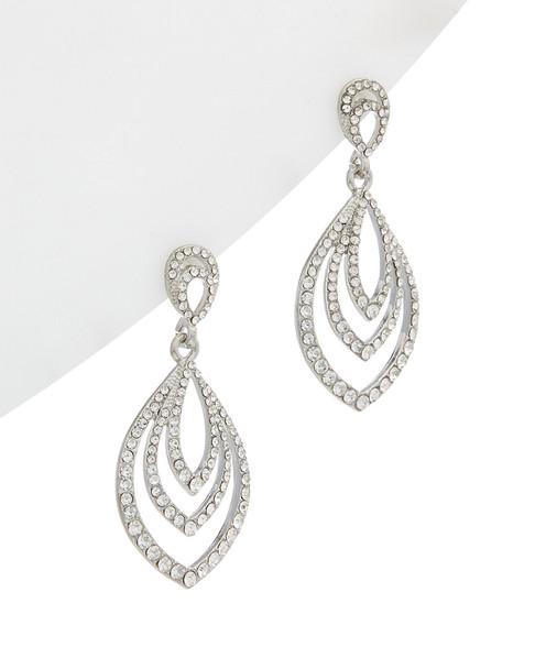 Kenneth Jay Lane Rhodium Plated Drop Earrings~60302177150000