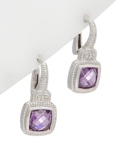 Judith Ripka La Petite Silver 5.01 ct. tw. White Topaz  CZ Earrings~60309605190000