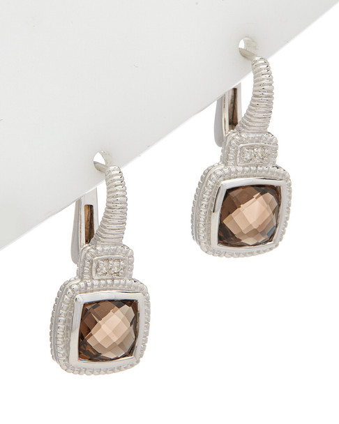 Judith Ripka La Petite Silver 2.23 ct. tw. Smokey Quartz Earrings~60309605210000