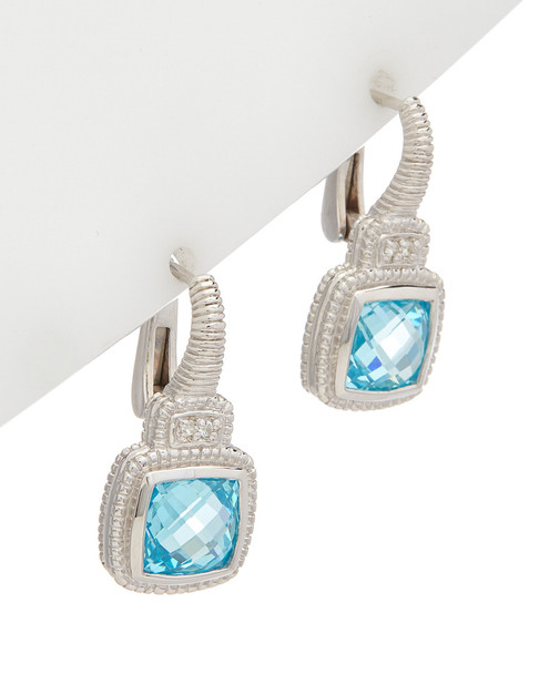 Judith Ripka La Petite Silver 5.01 ct. tw. White Topaz & Crystal Earrings~60309605220000