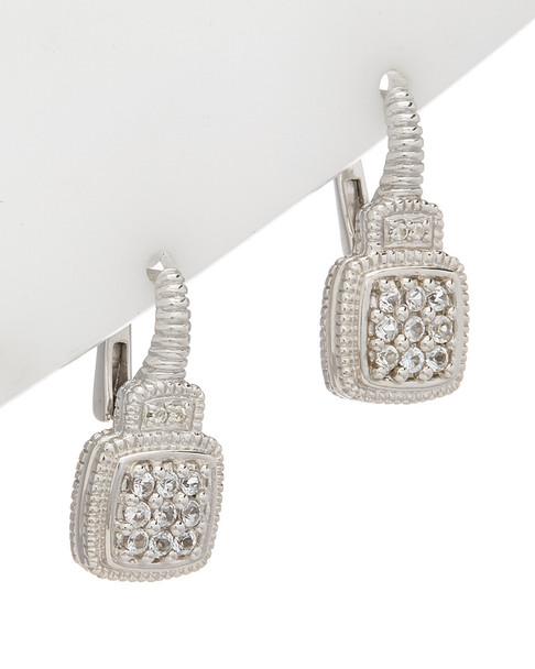 Judith Ripka La Petite Silver 0.32 ct. tw. White Topaz Earrings~60309605230000