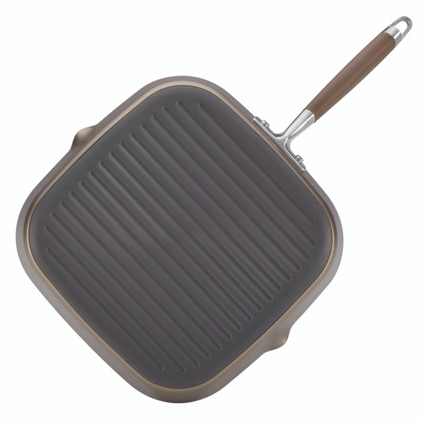Anolon Advanced Bronze Hard-Anodized Nonstick 11-inch Deep Square Grill Pan with Pour Spouts~84062