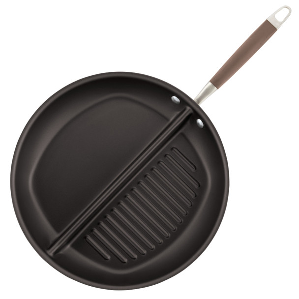 Anolon Advanced Bronze Hard-Anodized Nonstick 12.5-inch Divided Grill and Griddle Skillet Pan~84122