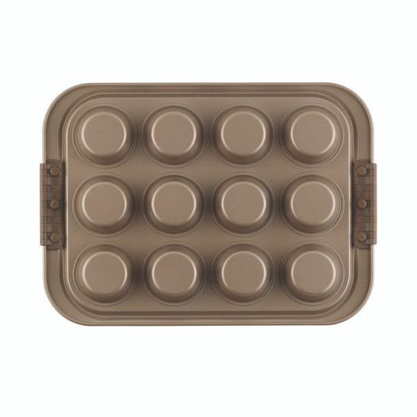 Anolon Advanced Bronze Nonstick 12-Cup Muffin Pan with Silicone Grips~57036