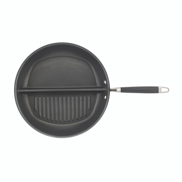Anolon Advanced Hard-Anodized Nonstick 12.5-inch Divided Grill and Griddle Skillet - Gray~83655