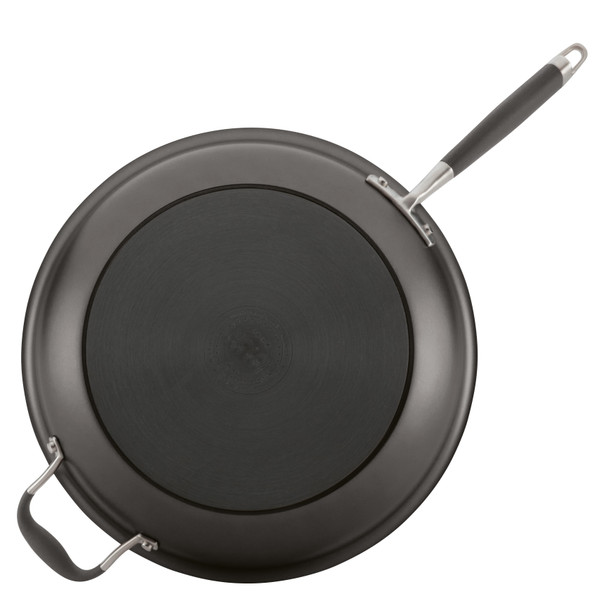 Anolon Advanced Hard-Anodized Nonstick 14-inch Skillet with Helper Handle - Gray~81958