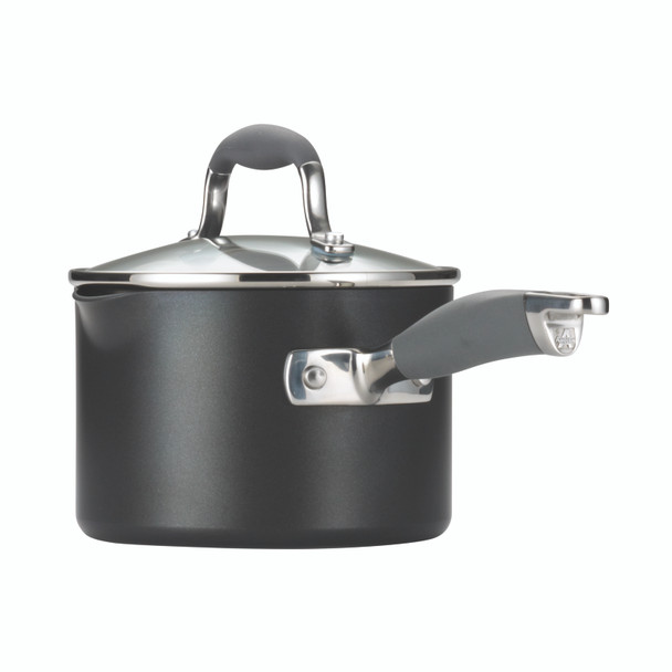 Anolon Advanced Hard-Anodized Nonstick 2-Quart Covered Straining Sauce Pan with Pour Spouts - Gray~83498