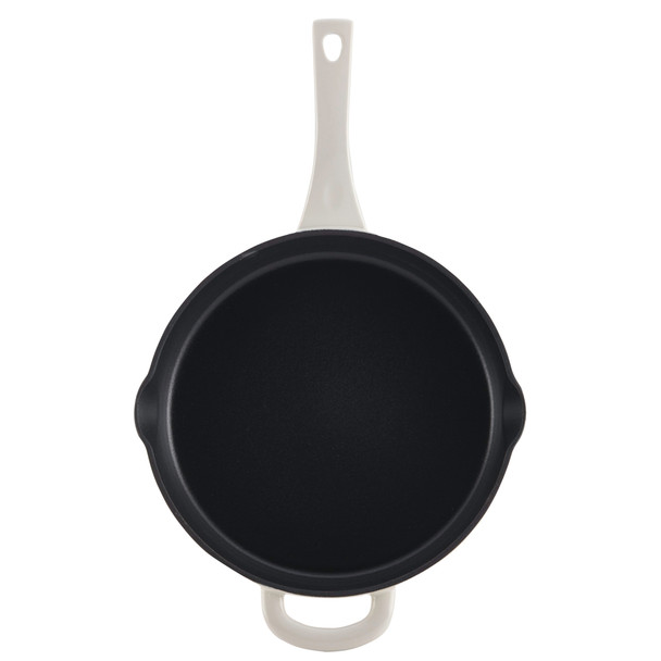 Ayesha Collection Cast Iron Enamel 10-inch Skillet with Pour Spouts - French Vanilla~47434