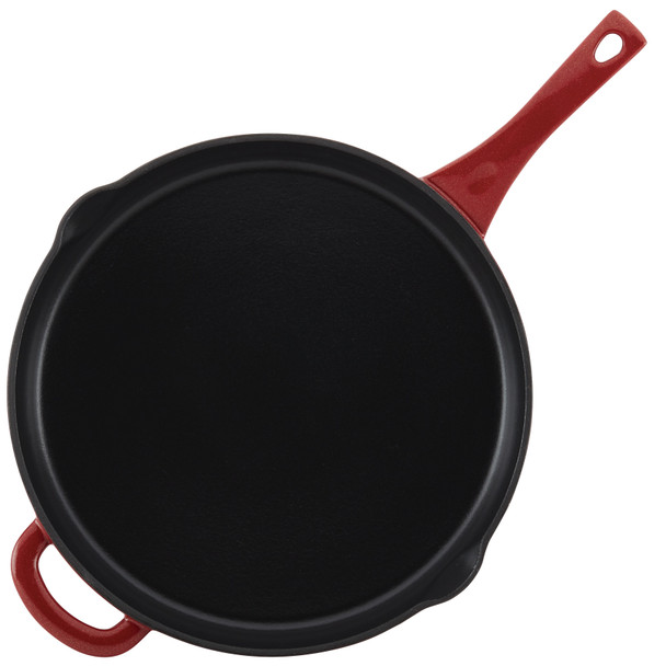 Ayesha Collection Cast Iron Enamel 12-inch Skillet with Pour Spouts - Sienna Red~46961