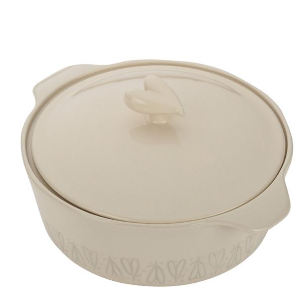 Ayesha Collection Ceramic 2.5-Quart Round Casserole - French Vanilla~46945
