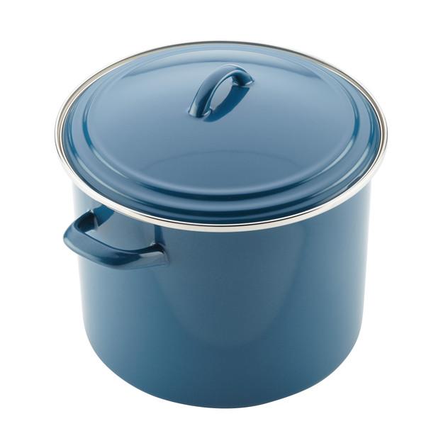 Ayesha Collection Enamel-on-Steel 12-Quart Stock Pot - Twilight Teal~46952