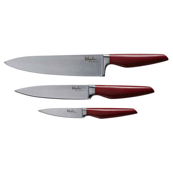 Ayesha Collection Japanese Steel 3-Piece Cooking Knife Set - Sienna Red~46954
