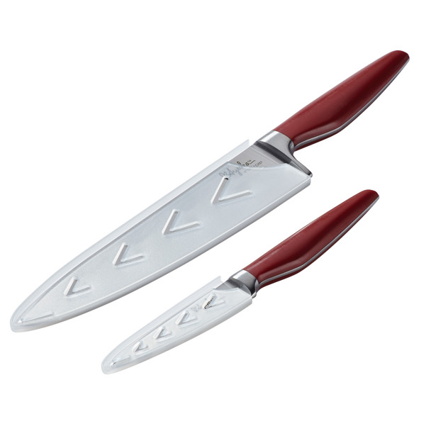 Ayesha Collection Japanese Steel 2-Piece Cooking Knife Set - Sienna Red~47055