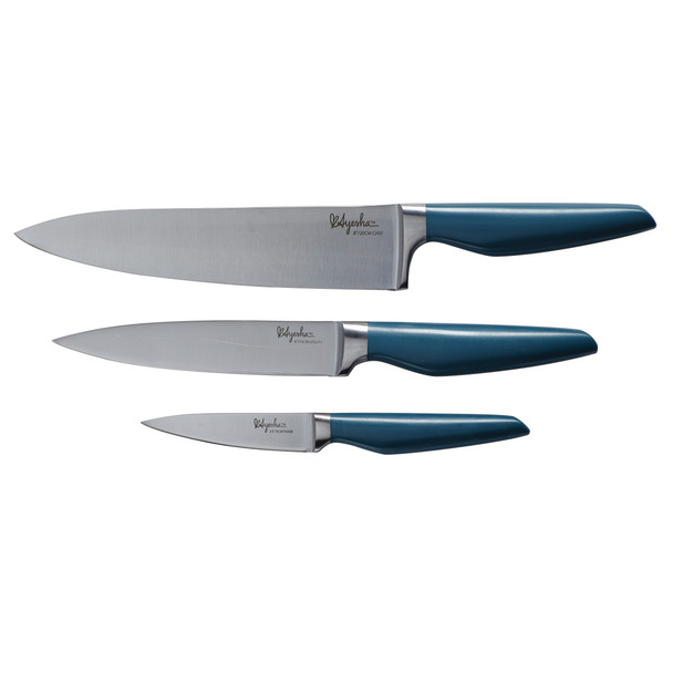 Ayesha Collection Japanese Steel 3-Piece Cooking Knife Set - Twilight Teal~46955