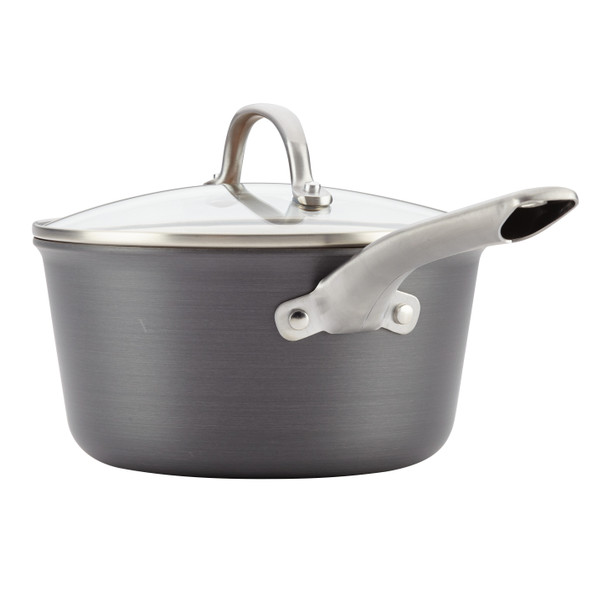 Ayesha Home Collection Hard Anodized Aluminum 3-Quart Covered Sauce Pan~80261