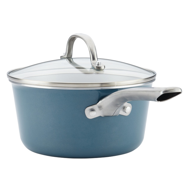 Ayesha Home Collection Porcelain Enamel Nonstick 3-Quart Covered Sauce Pan - Twilight Teal~10751