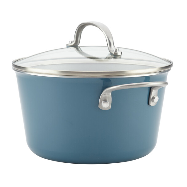Ayesha Home Collection Porcelain Enamel Nonstick 4.5-Quart Covered Sauce Pot - Twilight Teal~10752