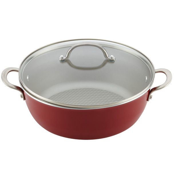 Ayesha Home Collection Porcelain Enamel Nonstick 7.5-Quart One Pot Meal Stock Pot - Sienna Red~10128