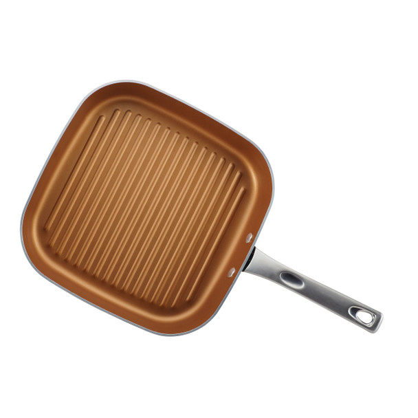 Ayesha Home Collection Porcelain Enamel Nonstick 11.25-inch Square Grill Pan - Brown Sugar~10762