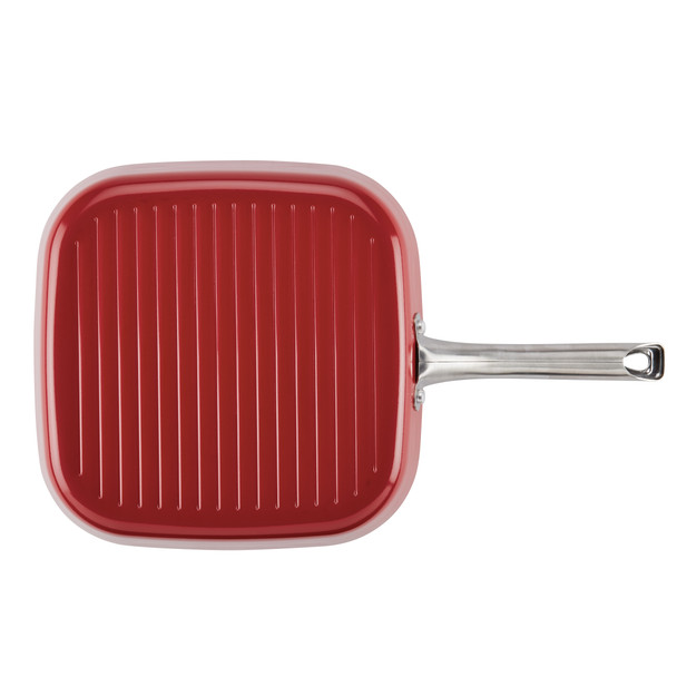 Ayesha Home Collection Porcelain Enamel Nonstick 11.25-inch Square Grill Pan - Sienna Red~10746