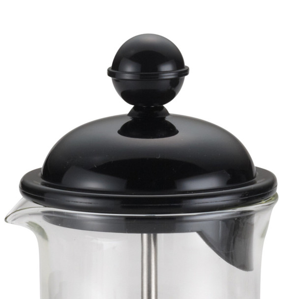 BonJour Coffee La Petite 12.7-Ounce Borosilicate Glass French Press & Milk Frother Set - Black~53521