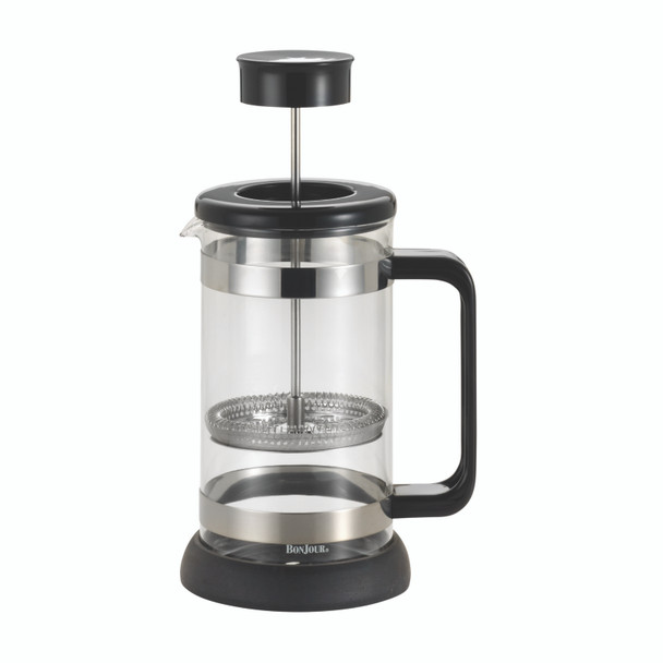 BonJour Coffee Riviera 33.8-Ounce Borosilicate Glass French Press with Coaster & Scoop - Black~56467