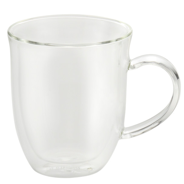 BonJour Coffee 2-Piece Set of Insulated Borosilicate Glass Latte Cups - 12 Ounces each~51286