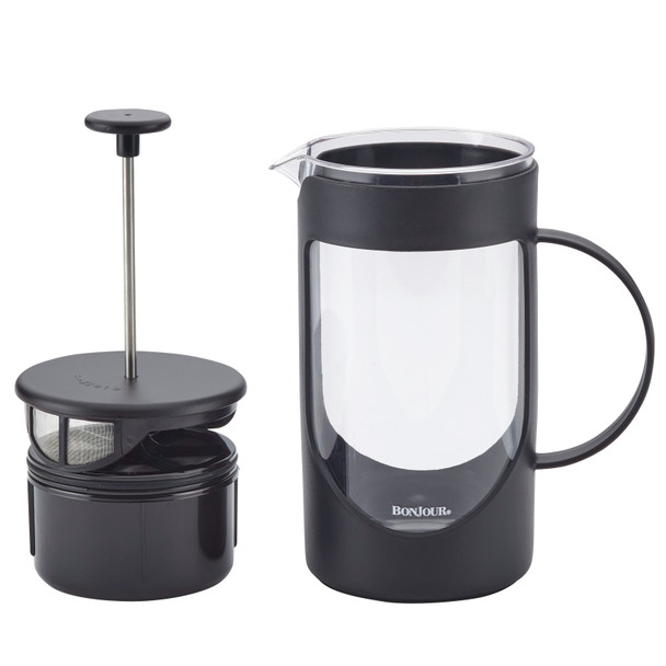 BonJour Coffee Unbreakable Plastic 40-Ounce French Press with Lock and Toss™ Filter - Black~47463