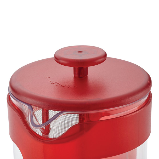BonJour Coffee Unbreakable Plastic 40-Ounce French Press with Lock and Toss™ Filter - Red~47464
