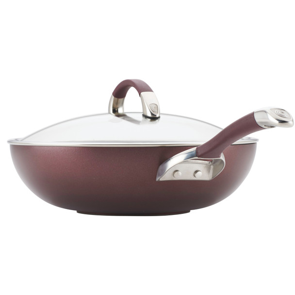 Circulon Symmetry Hard-Anodized Nonstick 12-inch Covered Essential Pan - Merlot~87531