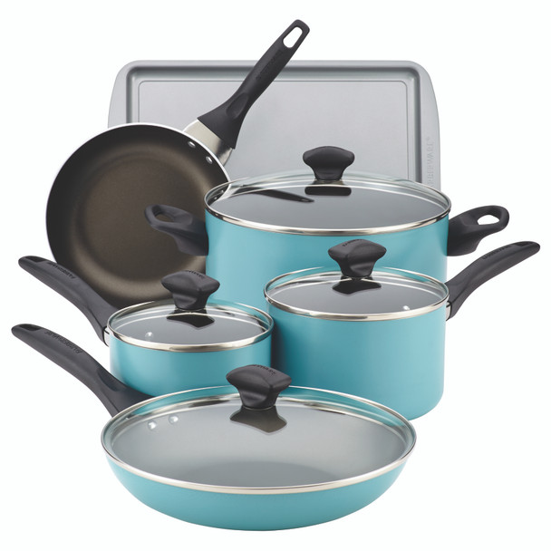 Farberware Dishwasher Safe Nonstick 15-Piece Cookware Set - Aqua~21894