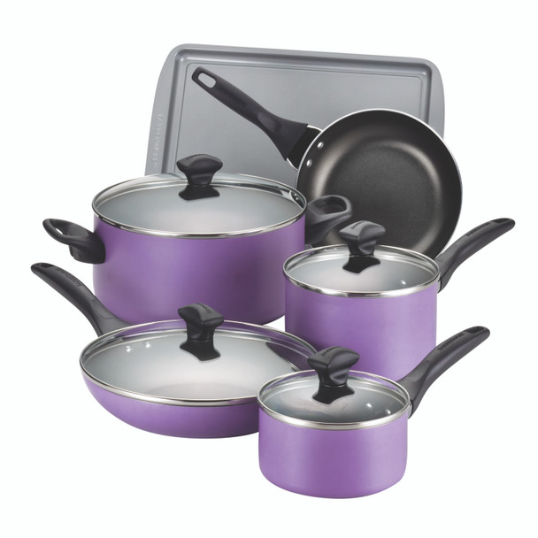 Farberware Dishwasher Safe Nonstick Aluminum 15-Piece Cookware Set - Purple~21895