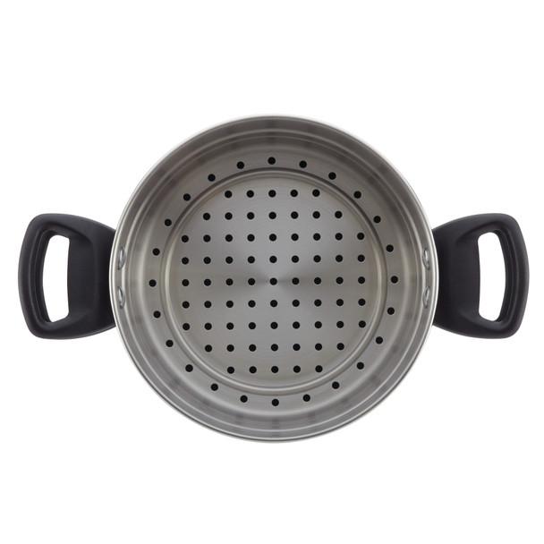 Farberware Dishwasher Safe Nonstick Aluminum 3-Quart Stack 'N' Steam Covered Sauce Pot & Steamer Insert - Black~21983