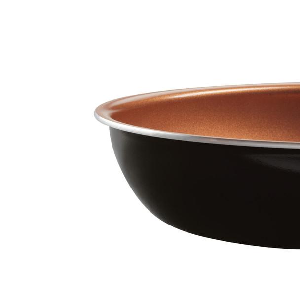 Farberware Glide Copper Ceramic Nonstick 12.5-inch Deep Skillet with Helper Handle - Black~10657