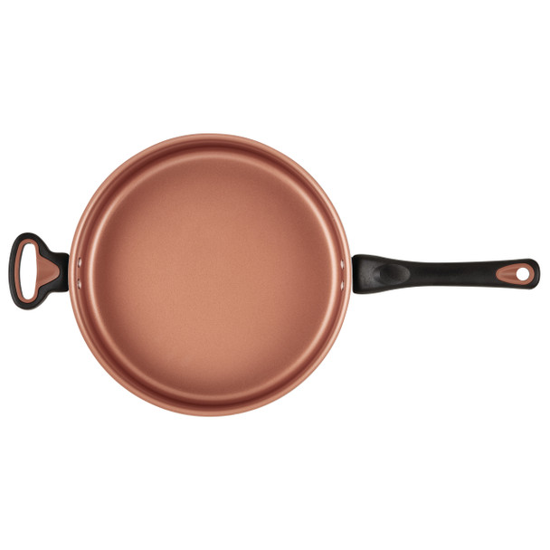 Farberware Glide Copper Ceramic Nonstick 4-Quart Covered Sauté Pan with Helper Handle - Copper~10359