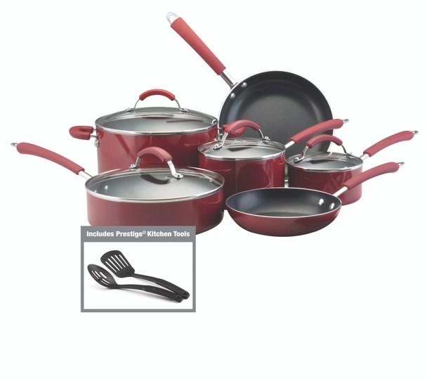 Farberware Millennium Colors Nonstick Aluminum 12-Piece Cookware Set - Red~10573
