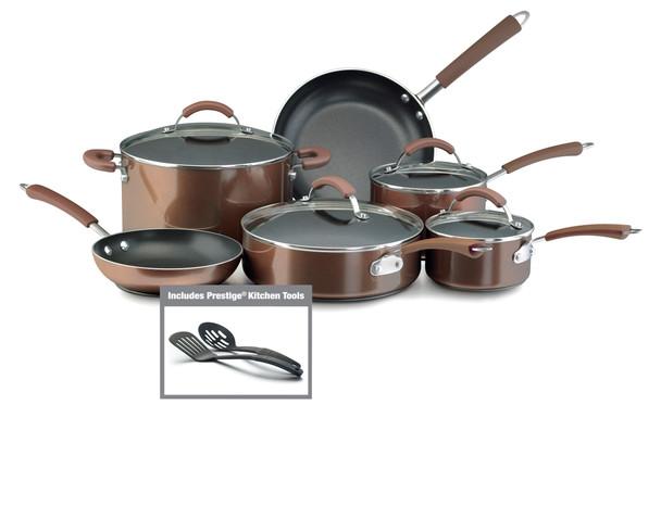 Farberware Millennium Nonstick Aluminum 12-Piece Cookware Set - Bronze~10570