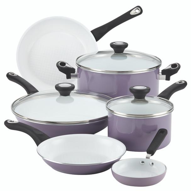 Farberware PURECOOK Ceramic Nonstick 12-Piece Cookware Set - Lavender~17555